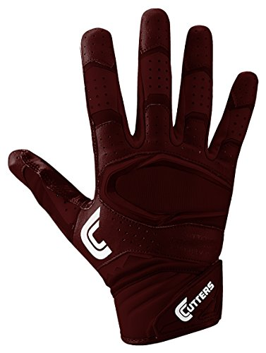 Cutters Gloves Rev Pro 2.0 Receiver Football Gloves, Solid Maroon, Small by Cutters
