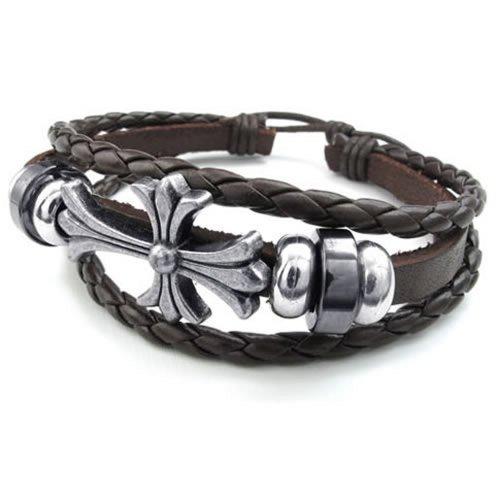 KONOV Mens Womens Leather Bracelet, Celtic Cross Charm Bangle, Fit 7-9 inch, Brown Silver