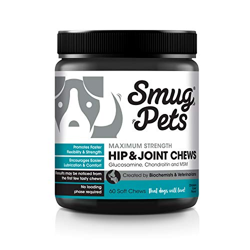SmugPets Maximum Strength Hip & Joint Chews for Dogs | All Natural Glucosamine Supplement with MSM | Advanced Joint Vitamins for Instant Relief from Pain, Discomfort & Joint Swelling | Made in the USA