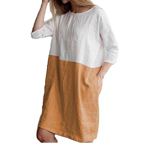 Cotton Khaki 4 Casual Sleeve 3 Loose Summer Women Dress for Coolred Linen 7x6qSE7P