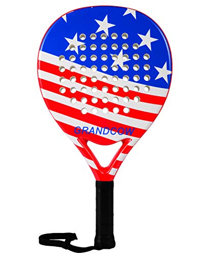 - GRANDCOW Tennis Padel Paddle Pro Carbon Fiber EVA Foam Beach Paddle Tennis Paddleball Racket Racquets (US Flag)
