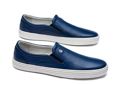 OPP Hommes Mocassins en Cuir Loafers Chaussures Bateau & de Ville Bleu Fonc¨¦ SesNMV