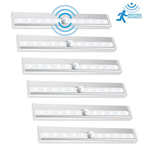Sunco Lighting 6 Pack Motion/Light Sensor Stick LED Light 2 Watt 6000K Kelvin Daylight (100LM) PIR Motion Activated Battery Powered, Under Cabinet Closet Night Light Bar, 3M Pads/Magnet Included -