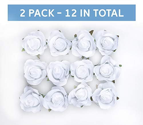 Tassel Toppers Peel and Stick Flat Back Roses for Grad Cap Decoration - Assorted Colors - Flowers, Floral Stickers, Adhesive Backed Roses (White)