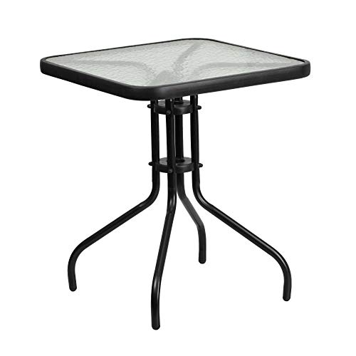 Flash Furniture 235#039#039 Square Tempered Glass Metal TableClear/Black235 inches