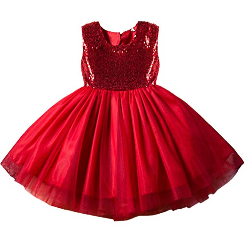Princess Formal Special Occasion Dress for Girls 3t 4t Kids Shiny Puffy Halter Ruffle Sequins Brithday Tulle Tutu Cute Lace Party Girls Dresses Holiday Easter Christening Baptism Red Girl Dress -