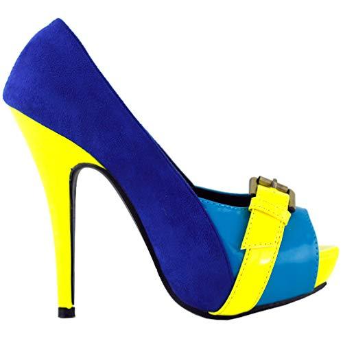 SHOW STORY Blue Yellow Peep-Toe Three Tone Elegant Slip-On Pumps,LF30460BU41,10US,Blue