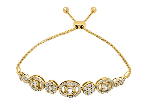 - OMEGA JEWELLERY 14K Yellow Gold Diamond Real Diamond Flower Cluster Bolo Bracelet (1.28 Cttw, J-Color, I2-Clarity)