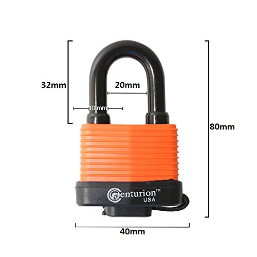 Centurion WPP Laminated Waterproof Padlock, Wide Body - Weather Resistant Outdoor Padlock, 3 Keys Included (40mm Body) by Centurion USA (Image #3)