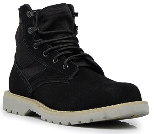 Genuine Leather Snow Boots - BRV Men's Genuine Leather Military Winter Snow Boots Storm Water Resistant Heavy Duty Snow Ankle Boots Rubber Sole Shoes (9 D(M) US, Black)