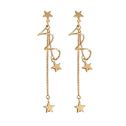18K Gold Plated Curved Twist shape Five pointed-star Charm Women Long Tassel Dangle Drop Earrings - Curved Twist