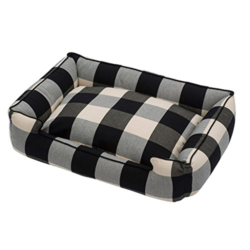 Jax and Bones Buffalo Check Black Premium Cotton Blend Lounge Bed-Large by Jax & Bones