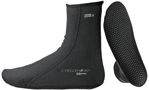 NeoSport Wetsuits XSPAN 5mm Socks, Black, Large - Diving, Snorkeling & Wakeboarding (Dive Boot Ultra 5mm)