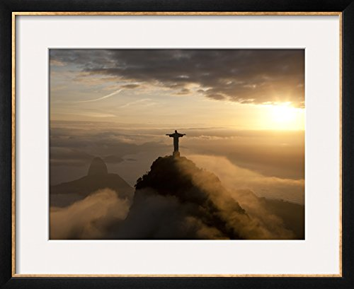 Art.com Statue of Jesus, known as Cristo Redentor (Christ the Redeemer), on Corcovado Mountain in Rio De Ja by Peter Adams Framed Photographic Print, 18 x 22