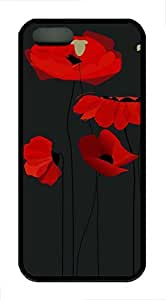Brian114 iPhone 5S Case - Red Poppy 12 Back Case Cover for iPhone 5 5S Soft Rubber Black Cases by runtopwell