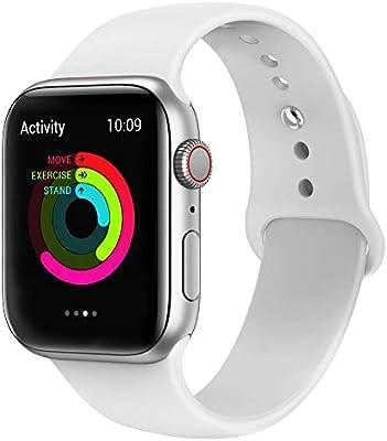VIKATech Correa de Repuesto Compatible con Apple Watch de 44 mm 42 mm, Correa de Silicona Suave de Repuesto para iWatch Series 4/3/2/1, S/M, White