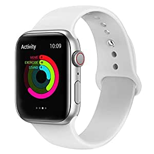 EWORLD Sport Band for Apple Watch 44mm 42mm, Soft Silicone Strap Replacement iWatch Bands for Apple Watch Sport,Series 4, Series 3, Series 2, Series 1 - White