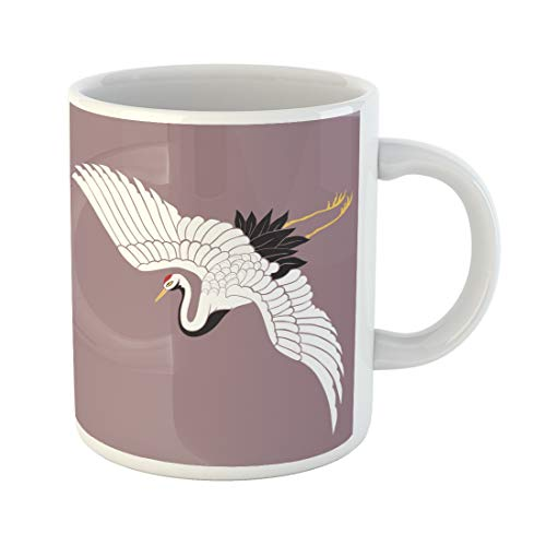 Emvency Funny Coffee Mug Red Bird Japanese White Crane for sale  Delivered anywhere in USA