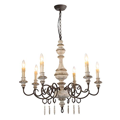 LALUZ 6-Light Shabby Chic French Country Wooden Chandelier ...