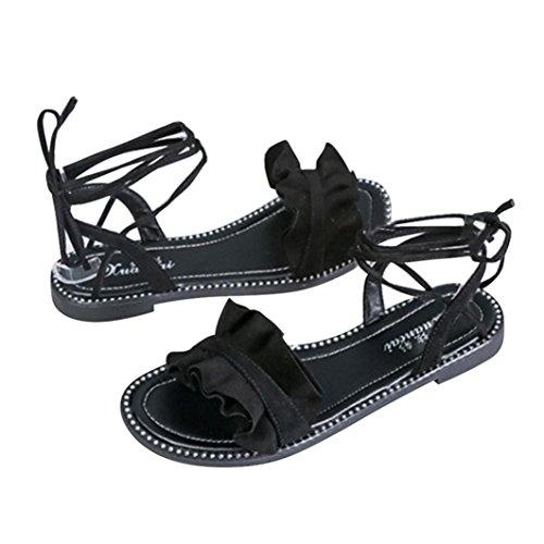 Transer® Damen Flach Kreuzgürtel Ankle-strap Sandalen Schwarz Weiß PU-Leder+ Gummi ... aeed119270