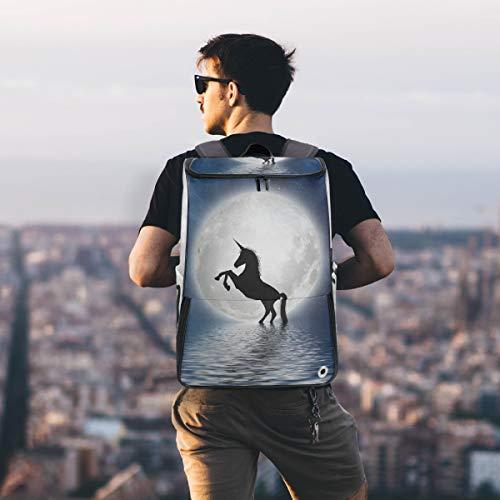 Twill Travel Bag School Multifunctional Sports Backpack for Women&men12.2x7.4x19.3 IN Moonlight Unicorn