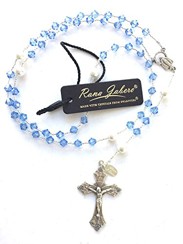 Sapphire Seed Pearl (Rana Jabero Birthstone Catholic Prayer Rosary Beads made with Genuine Crystals from Swarovski and White Glass Pearls - Keepsake Birthday Christmas Communion Baptism Gift (Light Sapphire))