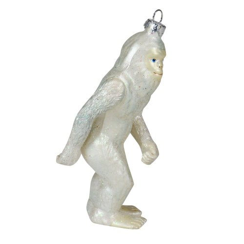 "Abominable Snowman Christmas Tree Ornament Collectors Holiday Bigfoot Ornament Sasquatch Tree Decor (4.5"" Tall Glass Ornament)"