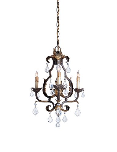Currey and Company 9829 Tuscan 3-Light Chandelier, Venetian Gold Finish with Swarovski Crystal Drop (Venetian Gold Three Light Chandelier)