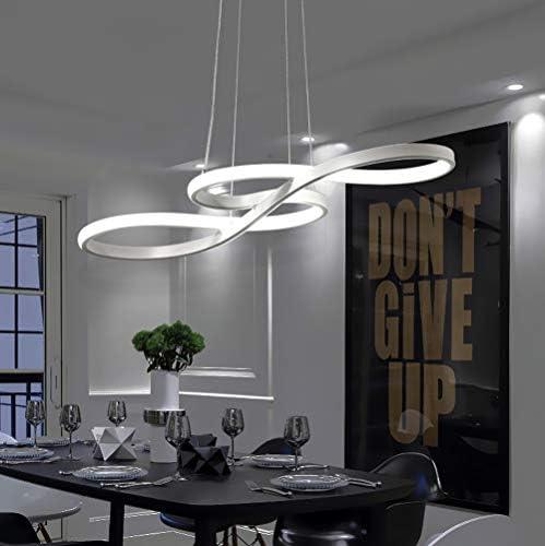 LED Chandelier Dining Room Island Ceiling Pendant Light Dimmable 3000K-6500K Remote Acrylic Half Flush Mount Lighting Fixtures, Modern Designer Height Adjustable Bedroom Living Room Decor Hanging Lamp