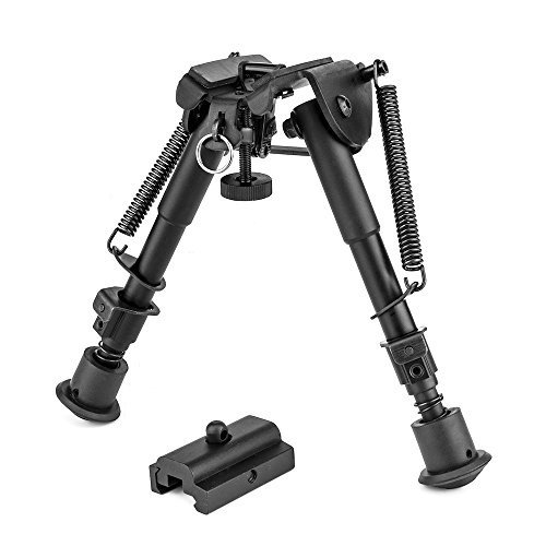 OTW 2 in 1 Bipod + Rail Mount Adapter 6 Inch to 9 Inch Adjustable Height Spring Return Sniper Hunting Rifle Bipod Sling Swivel Stud Mount (Rail Mount Adapter Included) - Quad Rail And Bipod
