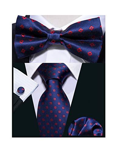 (Barry.Wang Men Tie Bowtie Set with Handkerchief Cufflinks Silk Blue Dot Necktie)