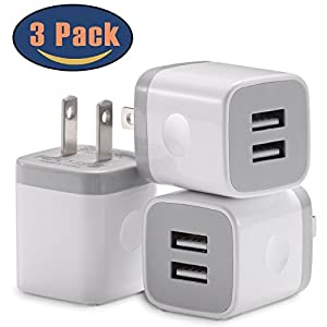 USB Wall Charger, Power Adapter STELECH 3-Pack (2.1Amp) Dual Port USB Charger Plug Box for iPhone X, 8, 8 Plus, 7, 7 Plus, 6, 6 Plus, 6S, 5S, iPad, iPod (White)