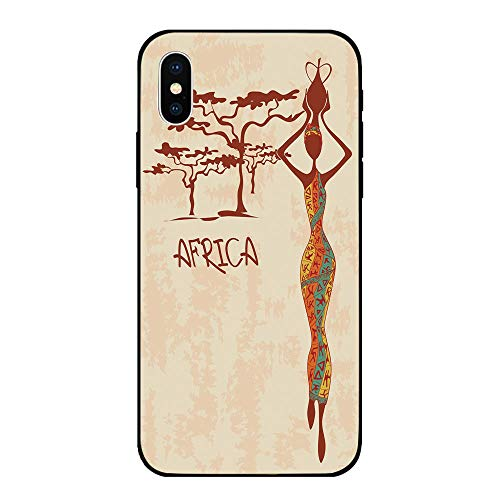 Phone Case Compatible with iPhone X Brandnew Tempered Glass Backplane,African Woman,Vintage Africa Themed Illustration Slim Indigenous Girl Figure Colorful Dress Decorative,Multicolor,Anti-shock and ()