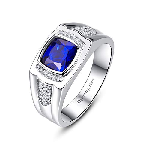 BONLAVIE Customized Name Wedding Band Ring for Men Bezel Setting Created Blue Sapphire September Birthstone The Memory of Love Size 8