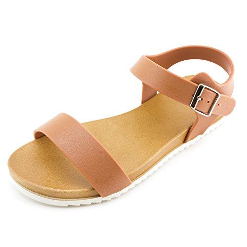 Kali Womens Open Toe Gladiator Gold Strap Flat Sandals (Chestnut 2, 9)