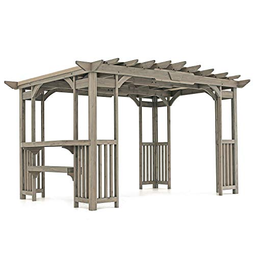 MM Cedar Pergola Gazebo with Bar Counter and Sunshade in Timber Gray Stain 12 x 8 Footprint