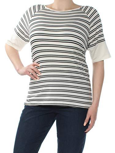 98e4bb8cb5e01 Tommy Hilfiger  49 Womens New 1401 Ivory Striped Split Back Top 0X Plus B+B