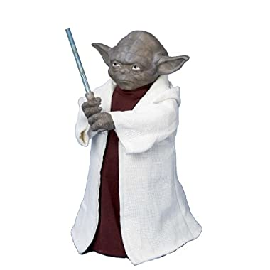 Star Wars Battery Operated Yoda With LED Light Saber and On/Off Button Tree Topper - Uses 3  AA  Batteries (Not Included)