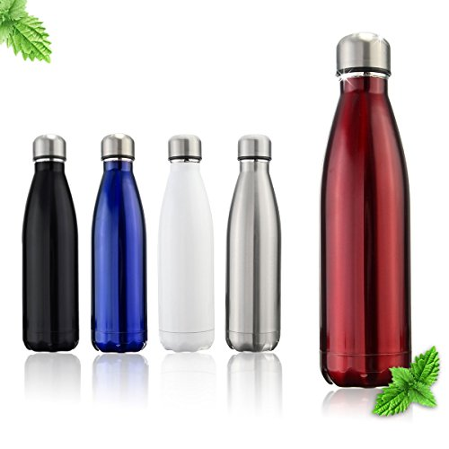 OUTERDO Double Wall Vacuum Insulated Water Bottle 17oz Stainless Steel BPA Free Long Neck and Bullet Shape Water Bottle Keeps Your Drink Hot & Cold Ideal for Outdoor Sports Camping Hiking Cycling