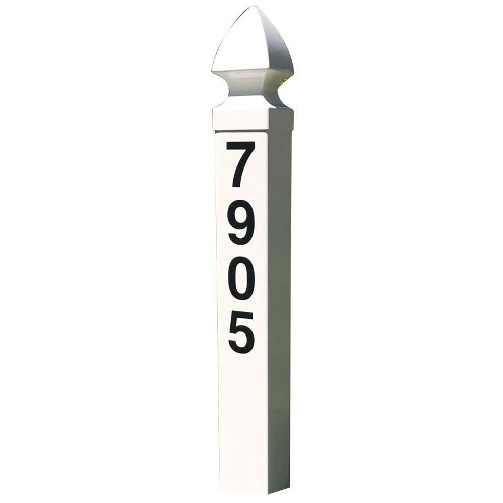 "Addresses of Distinction White Essex Address Post Kit – 32"" Tall Address Marker - Customized Black House Numbers –All Hardware & Stake Included – Help Emergency Vehicles Find Your Home"