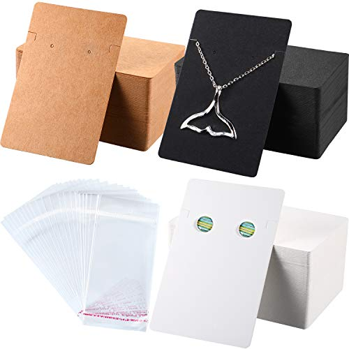 - 300 Pieces Necklace Earring Display Cards with 300 Pieces Self-Sealing Bags for Stud Earrings Dangle Earrings Pendant Earrings Necklace Chain (White, Black, Kraft)