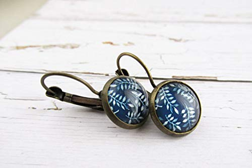 Blue ad White Fern Leaf Glass Dome Earrings, Nature Lovers Gift, Small Petite Glass Drop Earrings