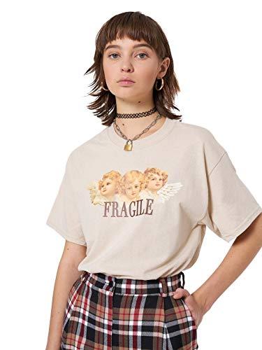 Fragile Angels T-shirt Women's Tee Top Tumblr Grunge Art Hoe Fallen Retro Beige Fashion ()