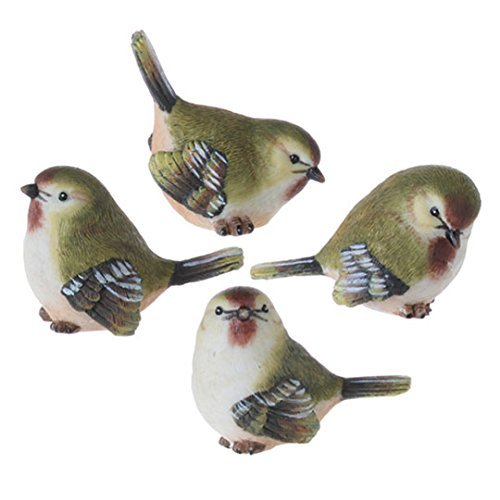 Mini Green Song Bird Figurines Set of 4, 2 Inches (Figurines Bird Resin)