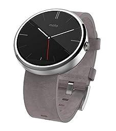Motorola Moto 360 Androidwear Smartwatch 1st Generation - 46mm (Certified Refurbished) (Stone Grey Leather)