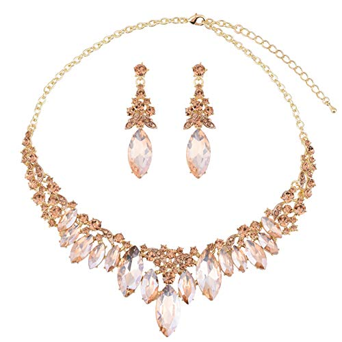 Paxuan Silver Gold Wedding Bridal Bridesmaid Austrian Crystal Rhinestone Jewelry Sets Statement Choker Necklace Earrings Sets for Wedding Party Prom (Champagne)