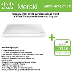 2.40 GHz 5 GHz - MIMO Technology - Beamforming Technology - 1 x Network (RJ-45) - Desktop Ceiling Mountable Wall Mountable. Meraki MR Series Access Point - Subscription License 1 Access Point - 3 Year License Validation Period.