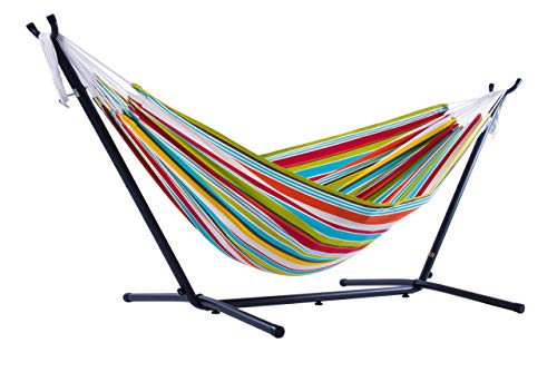 Vivere Double Polyester Hammock with Space-Saving Steel Stand, Ciao Renewed