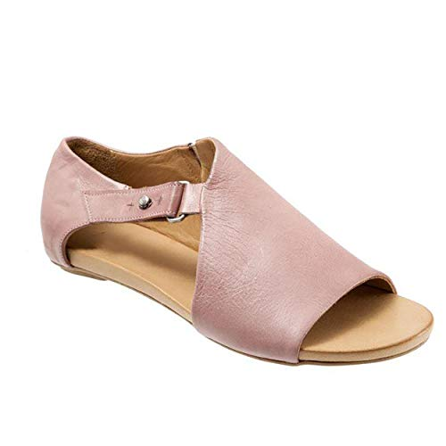 SNIDEL Flat Sandals for Women Open Toe Slip on Pu Shoes Summer Low Heels Strappy Sandal with Buckle Pink 8 B (M) US
