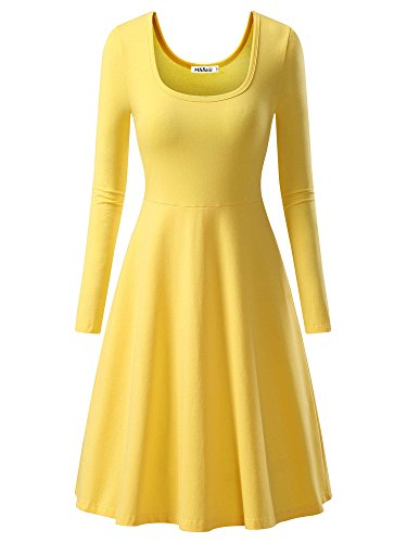 Yellow Dress Costume (MSBASIC Women Simple Designed Long Sleeve Round Neck Casual Flared Midi Dress)